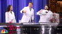 Jimmy and Lucy Liu perform science experiments with Kevin Delaney, including making a giant cloud
