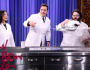Jimmy and Lucy Liu perform science experiments with Kevin Delaney, including making a giantcloud