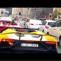 Meanwhile in Dubai.. Lamborghini is on fire after exhaust flames